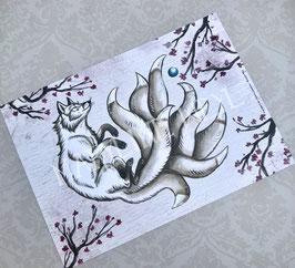 carte postale Kitsune - créature japonaise