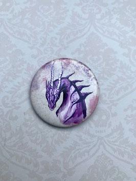 badge broche tête dragon violet