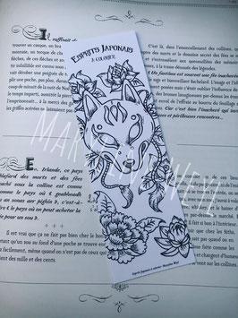 """Coloriage marque-page masque de kitsune à colorier """"esprits japonais à colorier"""""""