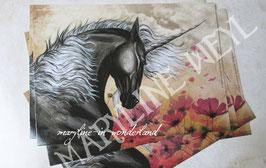 carte postale licorne noire