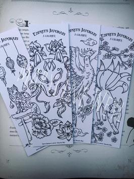 """Coloriage Lot n°1 de 4 marque-page à colorier """"esprits japonais à colorier"""" (phénix, chat, kitsune)"""