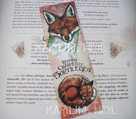 """marque-page """"renards, charmes et sortilèges"""" renard roux"""