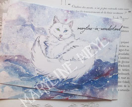 carte postale chat des neiges