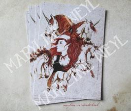 carte postale licorne et fée rousse