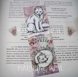 """marque-page """"renards, charmes et sortilèges"""" renard polaire"""