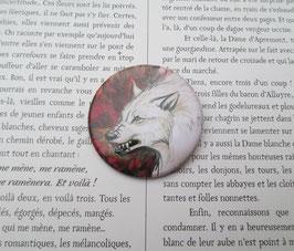 badge broche loup blanc et rouge