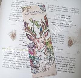 """marque-page coloriage """"jolies créatures à colorier"""" cerf"""