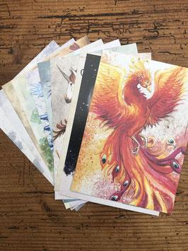 Lot de 10 cartes postales (phénix, chat, dragon, loup, licorne, renard)