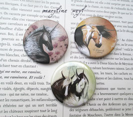 badge broche licorne lot de 3