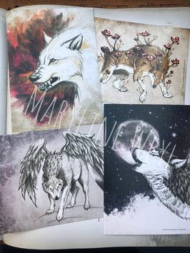 Carte postale loups Lot de 4