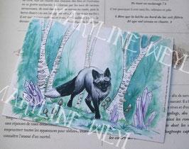 Carte Postale renard argenté et forêt magique