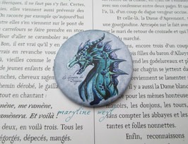 badge broche dragon bleu