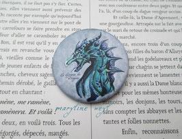 badge broche dragon bleu