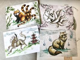 """carte postale """"le grimoire des créatures japonaises"""" lot de 4"""