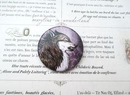 "badge broche loup gris ""Malou"""