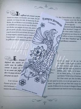 """Coloriage marque-page carpe koï à colorier """"esprits japonais à colorier"""""""