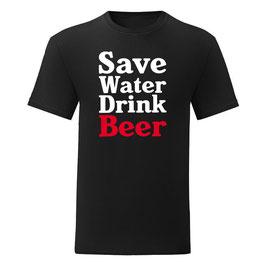 T-shirt Save Water Drink Beer Zwart