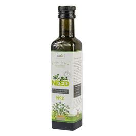 Bio-Ölmischung: Hanf-, Lein- und Aprikosenkernöl