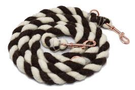 Hundeleine aus Bio-Schurwolle schwarz-weiß