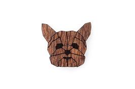 Hunde Brosche aus Holz Yorkshire Terrier| BeWooden