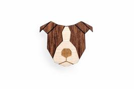 Hunde Brosche aus Holz Staffordshire Bull Terrier | BeWooden