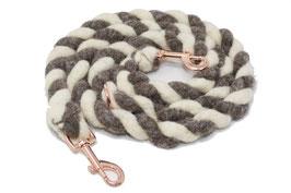 Hundeleine aus Bio-Schurwolle naturweiß-grau