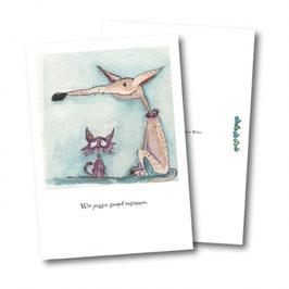 Tierpostkarte mit Hund und Katze