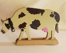 Vache sur support bois