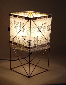 Lampe de chevet en tissus et métal