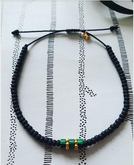 Miyuki black beads & Green