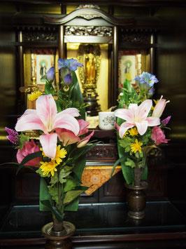 造花仏花 ピンク色カサブランカ