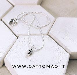 """Catenina Argento 925 """"Croce Mini Zirconi Neri"""" • Lunghezza 40cm"""