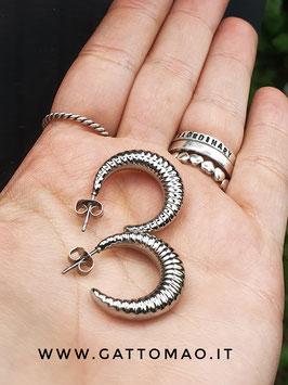 BB89 - Orecchini Acciaio inox anelle aperte bombate