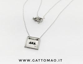 """43MB- Collana Argento 925 quadratino doppio foro """"AMA""""*"""