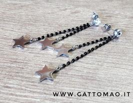 Orecchini acciaio inox Cristalli neri e stelline pendenti