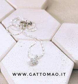 """Catenina Argento 925 """"Micro Cuore Zirconi"""" • Lunghezza 40cm"""
