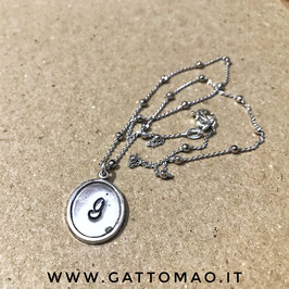 """CM215-Collana Argento 925 """"Ovale"""" Catena Pallini- INIZIALE*"""