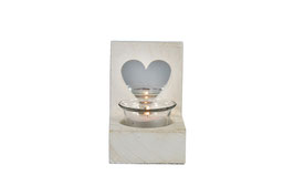 Windlicht m/glas Heart wit