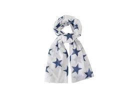 Schal Sterne, weiss/blau