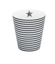 Tasse mit schmalen Streifen, dunkelgrau