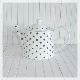 Teekrug, weiss mit grauen Sternen