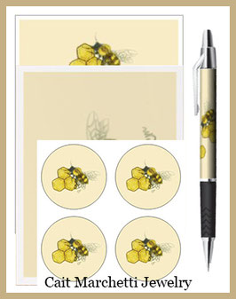 Complete Honeybee & Honeycombs Stationery Set