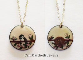 Large Round Necklace in Chickadee In A Cherry Blossom Tree
