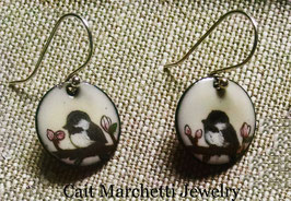 Small Round Earrings in Chickadee In A Cherry Blossom Tree