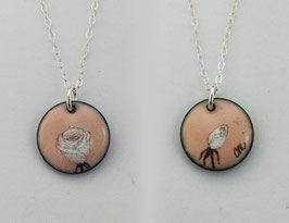 Small Round Necklace in Blush Rose