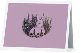 Bunny on Pink Greeting Card