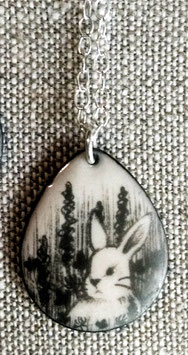 Large Teardrop Necklace in Bunny