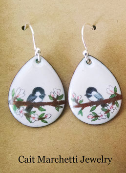 Small Teardrop Earrings in Chickadee In A Cherry Blossom Tree