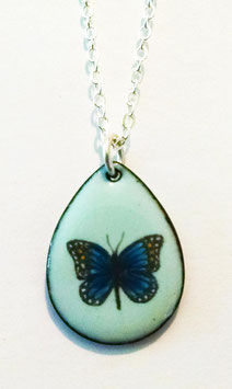 Small Teardrop Necklace in Red Admiral Butterfly