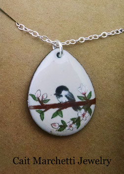 Large Teardrop Necklace in Chickadee In A Cherry Blossom Tree